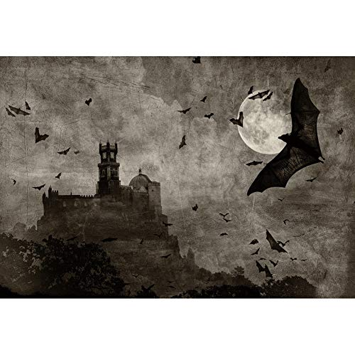 YongFoto 7x5ft Halloween Theme Backdrop for Party Decoration Halloween Horror Night Photography Background Full Moon Darkness Night Flying Bat Castle Photoshoot Photo Studio Props -