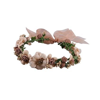 Frcolor Flor corona Diadema Corona para Mujer Novia Niña de la Fiesta la  Boda 8935e9b94a64