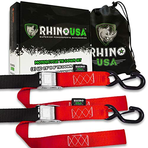 RHINO USA Motorcycle Tie Down Straps (2 Pack) Lab Tested 3,328lb Break Strength, Steel Cambuckle Tiedown Set with Integrated Soft Loops - Better Than a Ratchet Strap ()