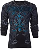 Affliction  Xtreme Couture Mens Thermal T-Shirt Sandstone Wings Biker MMA UFC (X-Large) Black