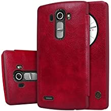 LG G4 leather case cover +Touch-U Holder , Nillkin Qin Sleep / Wake up flip leather case cover For LG G4 , Nillkin retail box (Red)