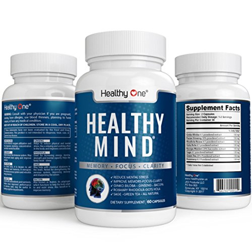 Healthy Mind – Memory, Focus and Clarity Brain Nootropic Supplement 60 Capsules – Max Strength All Natural. Ginko Biloba, Ginseng, Bacopa, Rhodiola, Sage, Gotu Kola, Green Tea, Rosemary For Sale