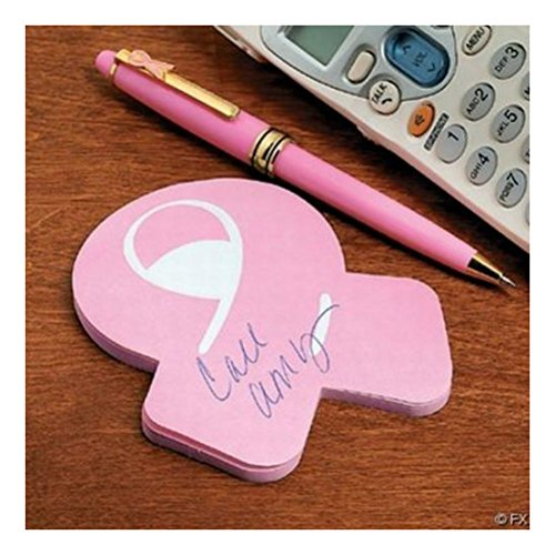 - 12 STICKY NOTEPADS - Pink Ribbon Cure breast cancer awareness Most Searched