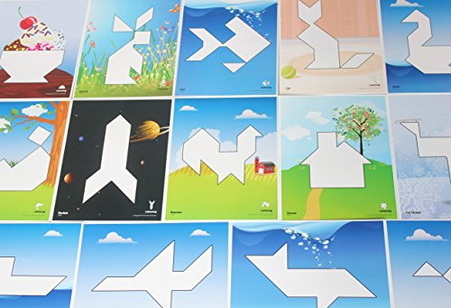 Curious Minds Busy Bags Tangram Set with Pattern Pages - 20 Colorful Designs - Chinese Puzzle Game