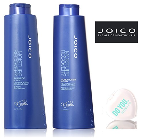 Joico Moisture Recovery Shampoo & Conditioner for dry hair DUO Set (with Sleek Compact Mirror) (33.8 oz / 1000ml Large Liter DUO Kit) ()