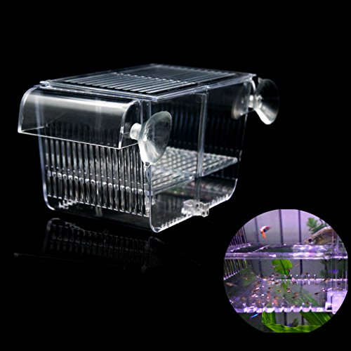 Boxtech Aquarium Fish Tank Hatchery Incubator Breeding Box, Acrylic White Breeder Isolation Divider Hatching Boxes Accessory Small Baby Fishes Shrimp Clownfish Guppy (8.3x3.7x3.9'')