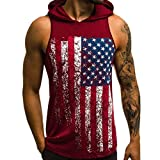 HTHJSCO Mens Workout Hooded Tank Tops Sleeveless Gym Hoodies Fitness Muscle Print Bodybuilding Pocket Blouse (L, Printed Red)