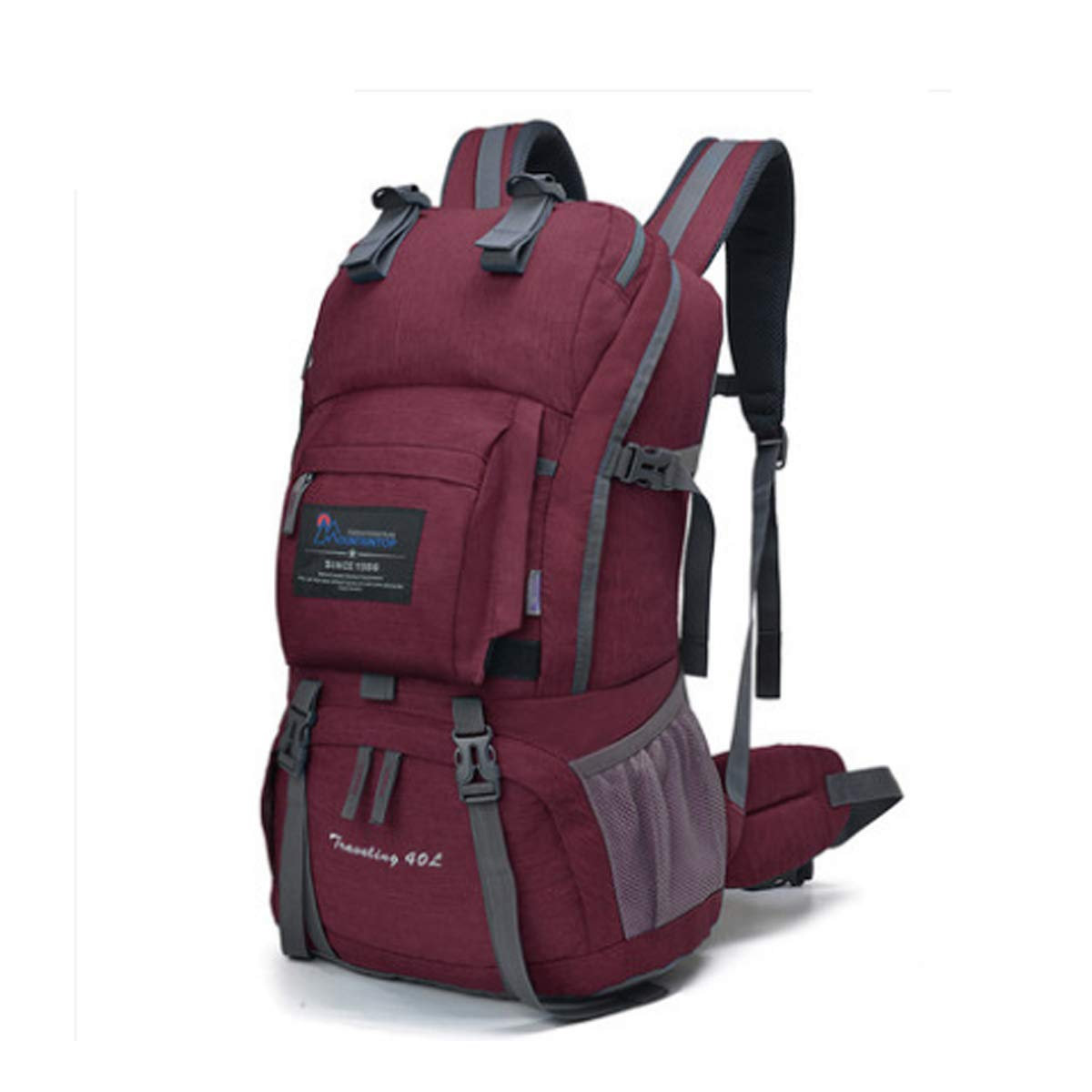 Haoyushangmao Canvas Travel Outdoor Camping Backpack with Rain Cover-40L Latest Models Color : Fuchsia, Size : 40L