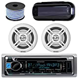 Kenwood In-Dash Marine Boat Audio Bluetooth Radio CD Receiver Bundle Combo with Pair of Enrock EKMR1672 6.5'' Dual-Cone Stereo Speakers, Stereo Cover, 18g 50ft Marine Speaker Wire (White)