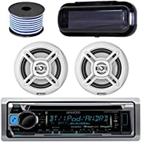 Kenwood In-Dash Marine Boat Audio Bluetooth Radio CD Receiver Bundle Combo with Pair of Enrock EKMR1672 6.5 Dual-Cone Stereo Speakers, Stereo Cover, 18g 50ft Marine Speaker Wire (White)