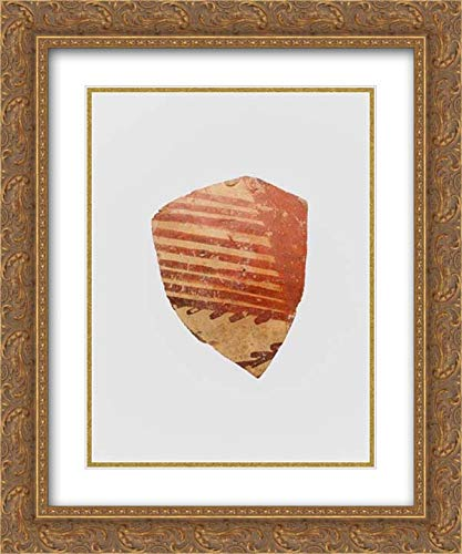 (Helladic Culture - 20x24 Gold Ornate Frame and Double Matted Museum Art Print - Terracotta Vessel Fragment with Linear Motifs)