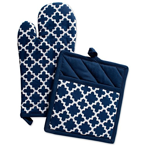 DII Cotton Lattice Oven Mitt 13 x 7 and  Pot Holder 9 x 8 Kitchen Gift Set, Machine Washable and Heat Resistant for Cooking & Baking-Nautical Blue