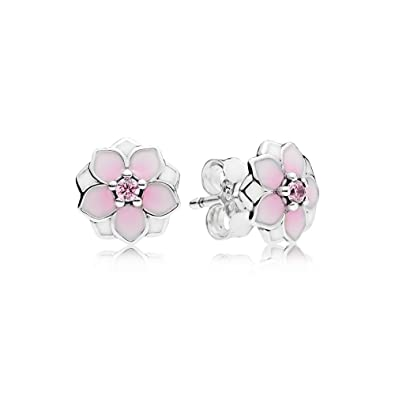 17691e80f Amazon.com: PANDORA Magnolia Bloom Stud Earrings, Pale Cerise Enamel & Pink  CZ 290739PCZ: Jewelry