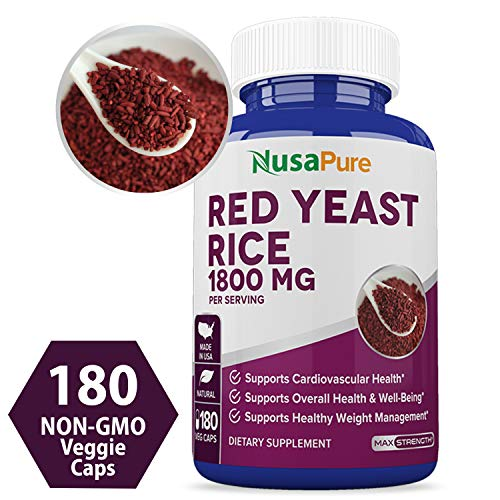 Red Yeast Rice 1800mg 180 Veggie Capsules (Non-GMO, Gluten Free & Citrinin Free) - Dietary Supplement Powder Pills to Support Cardiovascular Health