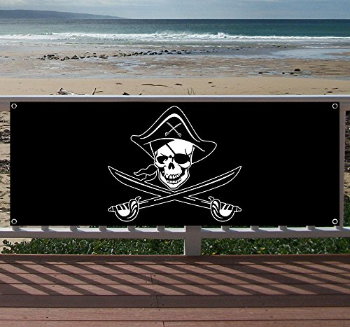 Pirate FLAGy Duty Vinyl Banner with Grommets (Many Sizes Available) -
