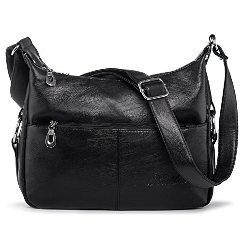 Women Crossbody Bags Vegan Leather Shoulder Bag Cross Body Purses for Travel Work Practical Multi Pocket Katloo Black by Katloo