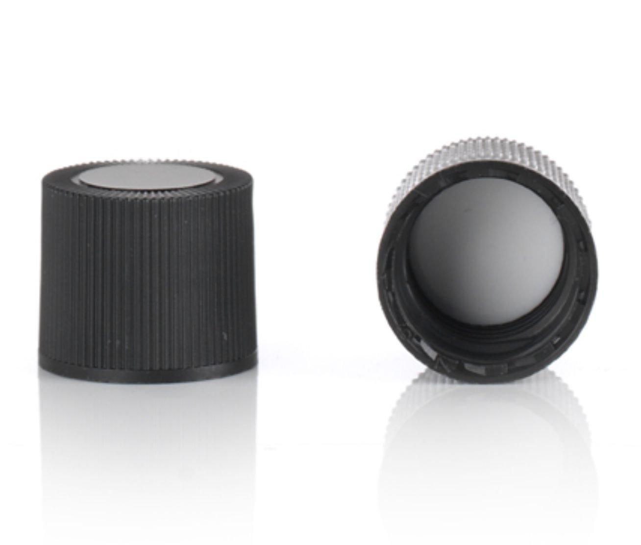 Magnakoys Black 15-415 Continuous Thread Closure w/ 14B Rubber Liner Caps for Vials (15-415, Black, 100)