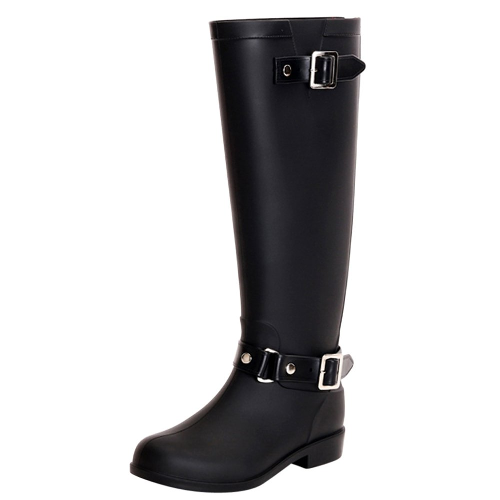 fereshte Puddles Women's Waterproof High/Mid Calf Puddles fereshte Rain Boots with Buckle/Bowknow B018LM22E0 EU 40 - US 9|Buckle-black d8c03a