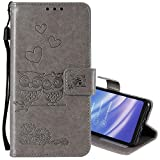 """EnjoyCase Wallet Case for iPhone 6S Plus 5.5"""",Cut Funny Embossed Flower Owl Premium PU Leather Wrist Strap Magnetic Closure Bookstyle Protective Flip Cover for iPhone 6S Plus/6 Plus 5.5"""""""