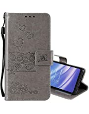 """EnjoyCase Wallet Case for iPhone 11 Pro 5.8"""",Cut Funny Embossed Flower Owl Premium PU Leather Wrist Strap Magnetic Closure Bookstyle Protective Flip Cover for iPhone 11 Pro 5.8"""""""