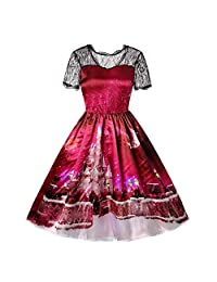 FarJing Clearance, Women Christmas Gown Lace Printing Vintage Party Dress