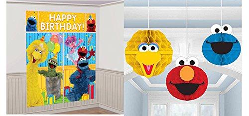 Amscan Sesame Street Wall Banner Decorating Kit and Amscan Sesame Street Party Hanging Honeycomb Decor Bundled by Maven Gifts