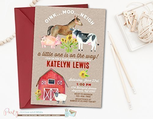 amazon com farm baby shower invitation printed with red envelopes