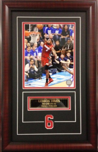 NBA Basketball Lebron James Miami Heat. Deluxe Framed Picture Photo with laser cut player number SKU #3008 - Deluxe Frame Miami Heat