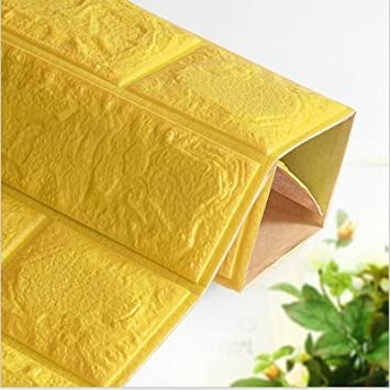 Amarillo 60cm M/ás espeso 3D Pegatina de Pared Autoadhesivo Panel Pared Impermeable PE Espuma Decoraci/ón de pared STRIR 1PCS Pegatina de Azulejos Ladrillo 30