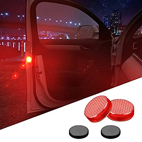 Car Door Warning Safety Lights Reflector LED Lamps Magnetic Waterproof Wireless Universal Red Flash Proximity System Instant Switch On Off Anti Collision Dash Emergency Hazard - Motorcycles Neon Clock