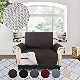 RHF Anti-slip Pet Cover for Leather Recliner, Slip-Resistant Oversized Recliner Slipcover&Protector for Dogs-Features Anti-slip Pad and Adjustable Strap, Machine Washable (Oversized Recliner: Choco)