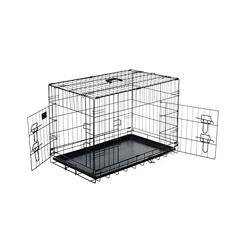 Pet Trex 2191 30 Inch Dog Crate Double Door Folding Pet Crate Kennel 30'