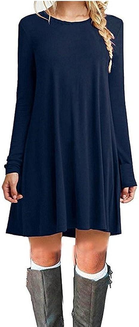 TALLA L. ZNYSTAR Mujeres Suelto Casual Vestido de Camiseta Cuello Redondo Azul Oscuro Manga Larga