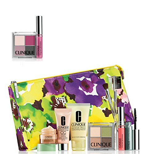 NEW 2015 Clinique 9 Pcs Makeup Skincare Gift Set with Brush