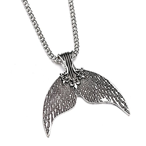 Bohemian Mermaid Tail Pendant Necklace for Women Vintage Silver Color Necklace Pendant Jewelry ()