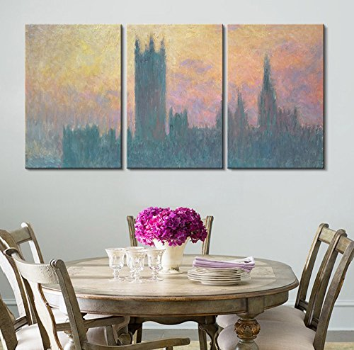 3 Panel Houses of Parliament Sunset 1903 by Claude Monet Gallery x 3 Panels