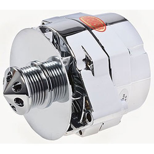 Chrome Alternator Pulley (Powermaster Performance 37294-311 Alternator 12si 150 Amp 100 Idle 6 Groove Pulley Baffle And Cone Chrome Alternator)