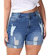 ALLEGRACE Plus Size Denim Shorts Women High Waisted Stretch Summer Jean Shorts