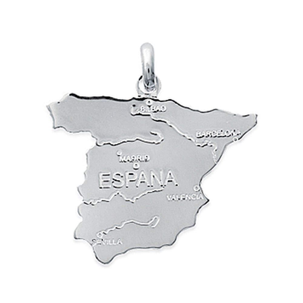 Obrillant-Bijoux - Pendentif en Argent Massif 925/1000 Carte de l'Espagne ciselé e Mode 1Z67L00L