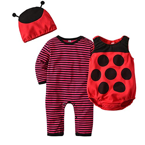 Baby Costumes Ladybug Romper Pajamas Infant Boy Girl Party Outfit Set 3 Pcs -