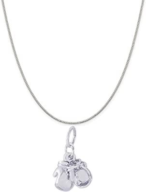 Box or Curb Chain Necklace Rembrandt Charms Two-Tone Sterling Silver Wrestler Charm on a Sterling Silver 16 18 or 20 inch Rope