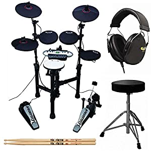 Carlsbro CSD130 9-Piece Compact Electronic Drum Kit + Drum Throne + Drummer Isolation Headphones + Vic Firth American… Drum Sets