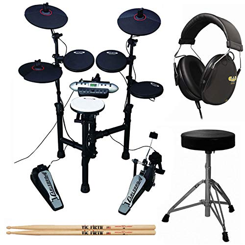 (Carlsbro CSD130 9-Piece Compact Electronic Drum Kit + Drum Throne + Drummer Isolation Headphones + Vic Firth American Classic 5A Drum Sticks)
