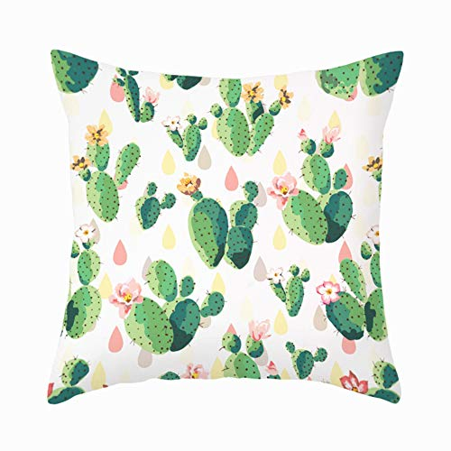 Aremazing Watercolor Succulent Throw Pillow Covers Pink Green Cactus Prickly Pear Flower Decorative Throw Pillow Case Cushion Cover for Sofa Couch 18x18 Inch,Super Soft (Pink Green Cactus Flower)