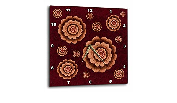 3dRose dpp/_32162/_1 Coffee and Bark Brown Fantasy Mandala Flowers on Burnt Sienna Muted Damask Background-Wall Clock 10 By 10-Inch