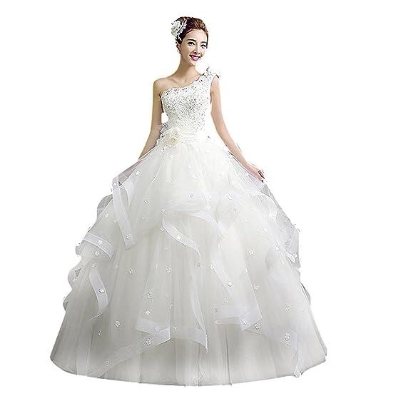 df6f3041fa279 DRASAWEE(JP)ウェディングドレス ワンショルダー レース マキン丈 プリンセスドレス 花嫁ドレス ホワイト