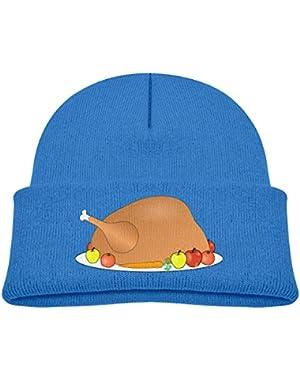 Kids Knitted Beanies Hat Thanksgiving Turkey Winter Hat Knitted Skull Cap for Boys Girls Blue