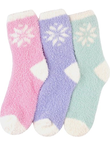 HASLRA Snow Flower Soft Warm Microfiber Fuzzy Socks 3 Pairs (SNOW FLOWER) -