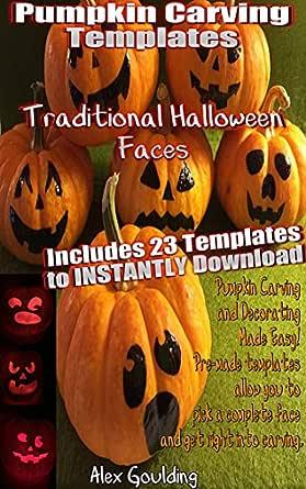 Amazon Com Pumpkin Carving Templates Traditional Halloween Faces