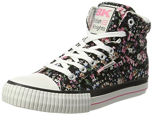 British Riddere Dame Dee Sneaker Sort (sort / Lyserød Blomst) ExNNOGoHlM